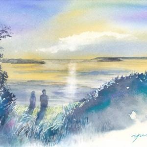 10月水彩色えんぴつ風景画コース「能登島の朝焼け」
