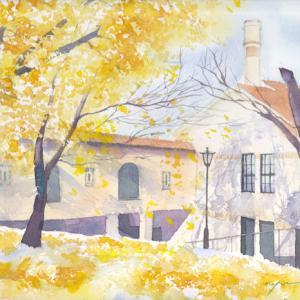 10月産経学園 透明水彩「銀杏の下で」