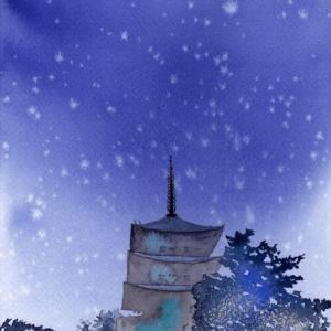11月水彩色えんぴつ教室「初雪」