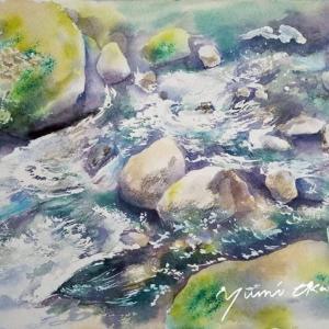 7月 産経学園透明水彩「瀬をはやみ」