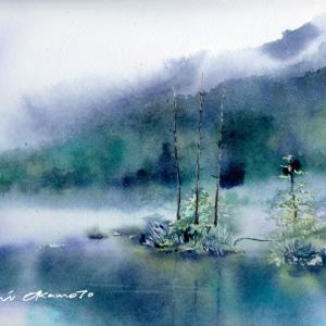 8月 透明水彩「神降りる池」