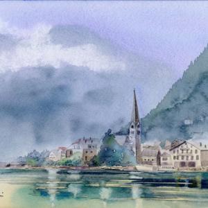 7月水彩色えんぴつ風景画コース「ハルシュタット」