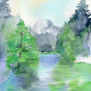 8月水彩色えんぴつ風景画コース「ヨセミテ国立公園」