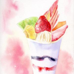 8月水彩色えんぴつ あいあいパーク教室課題「フルーツパフェ」
