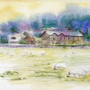 10月水彩色鉛筆教室「ヒル・トップの羊たち」
