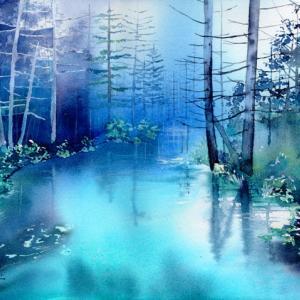 11月 透明水彩「Blue Water」産経学園