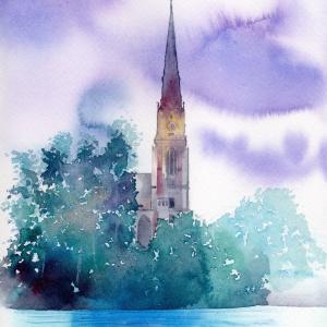11月水彩色鉛筆風景画コース「フランクフルトの水面」