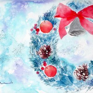 11月水彩色鉛筆教室「Christmas wreath」