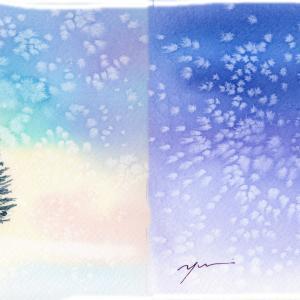 12月水彩色鉛筆教室「asa to yoru(朝と夜)」
