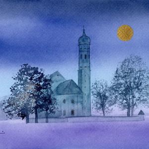12月水彩色鉛筆風景画コース「Vollmond」