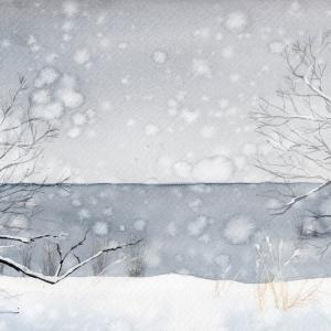1月水彩色鉛筆風景画コース「冬の湖畔」