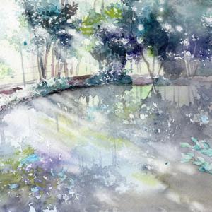 1月水彩色鉛筆風景画コース「水辺の輝き」