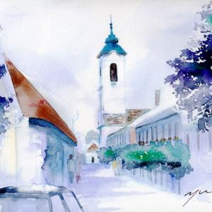 5月水彩色鉛筆 風景画コース「センテンドレ」