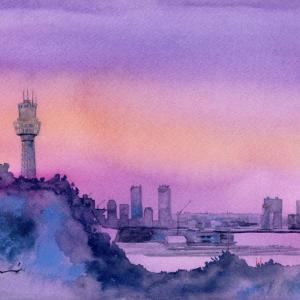 6月水彩色鉛筆 風景画コース「黄昏」