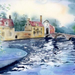 6月水彩色鉛筆 風景画コース「ブリュージュ」