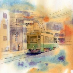 6月 透明水彩「路面電車・長崎」産経学園