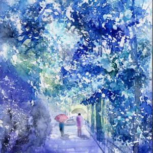 7月水彩色鉛筆 風景画コース「やさしい雨」
