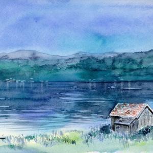 7月水彩色鉛筆 風景画コース「ノールフィヨルド」