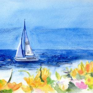 8月水彩色鉛筆教室「ゆりが咲く丘」