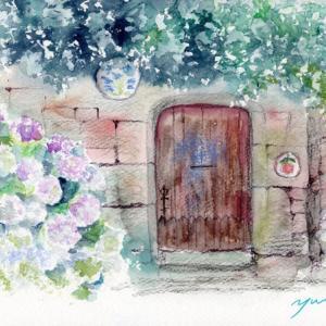 8月水彩色鉛筆 風景画コース「フランスの町並み」