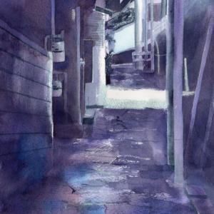 8月 透明水彩「階段の町」産経学園