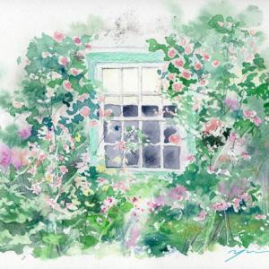 9月13日&9月後半風景画 水彩色鉛筆教室「ROSE WINDOW」