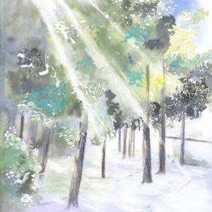 9月水彩色えんぴつ風景画コース「日差しの中へ」