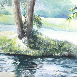 8月産経学園 透明水彩「安曇野 清流」