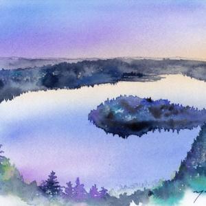 9月水彩色えんぴつ教室「森と湖と」