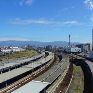 函館本線起点・函館駅構内を俯瞰する