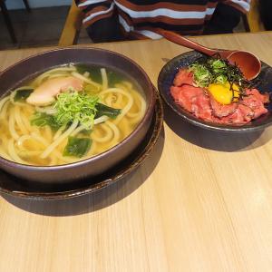 神戸、岩屋 「壱屋」-うどんとミニローストビーフ丼のセット☆