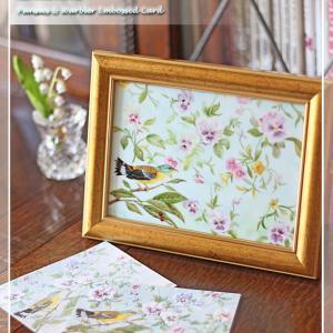 淡いブルーが美しい♪パンジーとウグイスのグリーティングカードを陶板に♪<◆生徒様作品集◆>
