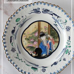 紫禁城(しきんじょう)を彩る后妃の宮廷絵画をアンティークの透かしプレートに♪<◆生徒様作品集◆>