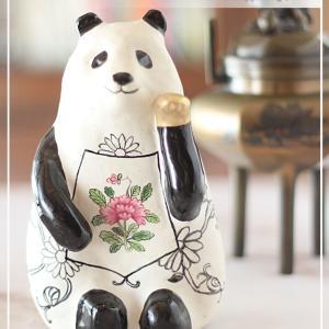 陶器へ絵付け♪招きパンダにヘレンド風の文様を♪<◆生徒様作品集◆>