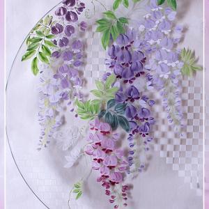 ガラスプレートに満開の藤♪サンドブラストの市松模様を添えて♪<◆生徒様作品集◆>