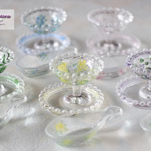 【ガラス絵付け】すずらん♪ミモザ♪すみれ♪忘れな草♪桜♪<◆生徒様作品集◆>