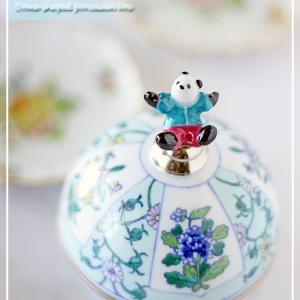 フィギュア付きドーム型蓋ものに♪パンダと唐子とくまさんで可愛く装飾♪<◆生徒様作品集◆>