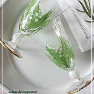 可愛すぎる♪ポーセラーツ課題作品のグラスにすずらん♪<◆生徒様作品集◆>
