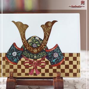 お孫さんの初節句♪ヘレンド風の兜を陶板に♪<◆生徒様作品集◆>