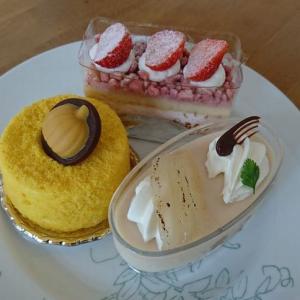 カラメルポワール、ガトーフレーズ、かぼちゃのケーキ/六花亭
