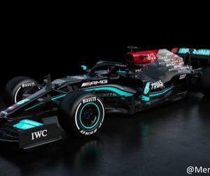 【F1新車発表】メルセデスが2021年型マシン「W12」を公開、やはりAMGロゴが目立つ