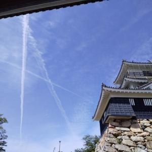 浜松城と飛行機雲