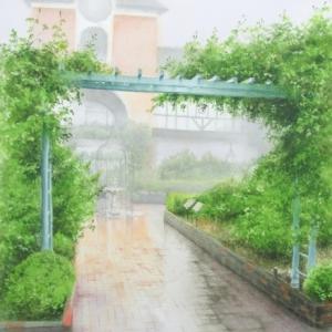 雨の布引ハーブ園にて