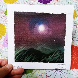 京都教室、ますます進化中~月と風を描く。