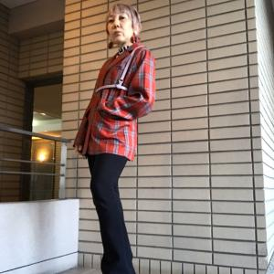 【60歳のファッショニスタ】jouetieチェックジャケットコーデ