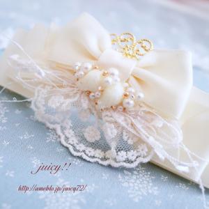 【プリンセスみたいなバレッタ♪】アイボリーが素敵なバレッタをどうぞ♪