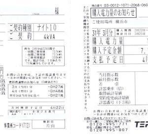 電気使用量と余剰購入電力量の精査「2019年3月分 ミニソーラー横浜青葉発電所」