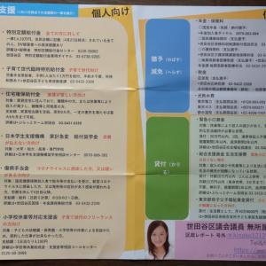 役立つ!!、世田谷区議会議員、ひうち優子さん、区政レポート号外、保存版