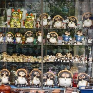 タヌキがいっぱいのショーウィンドウ、合羽橋商店街の陶器屋