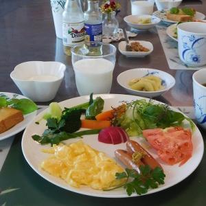 スクランブルエッグとゆで野菜と生野菜